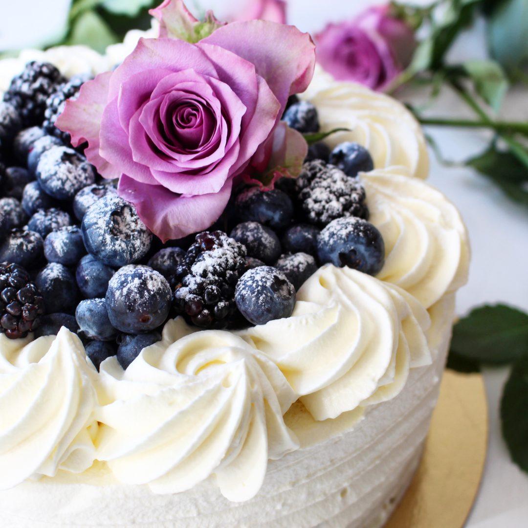 tårta blåbär vit choklad