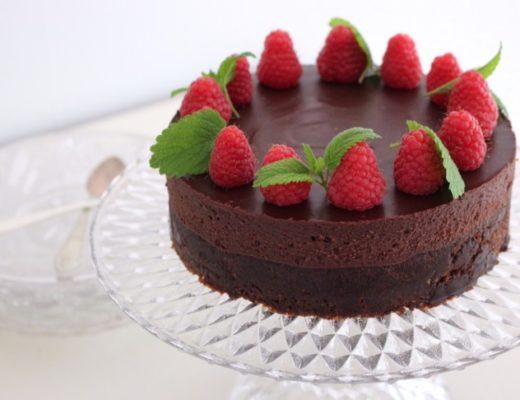 chokladtårta med hallontryffel